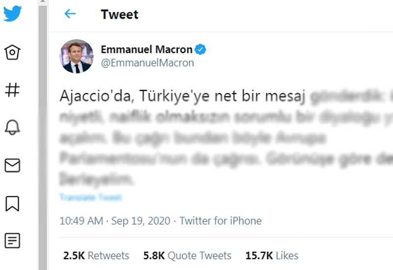 Fransa prezidentindən türkçə mesaj